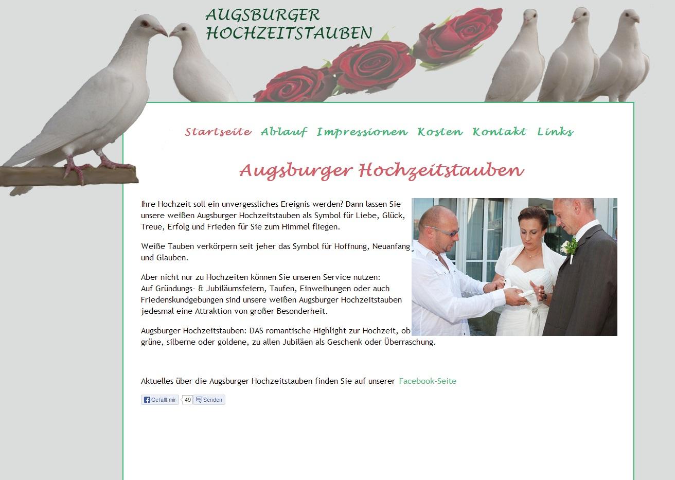 Augsburger Hochzeitstauben - weiße Tauben für Ihre Hochzeit